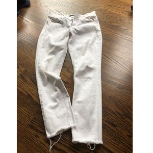 Express mid-rise raw hem white jeans ▫️ NWT